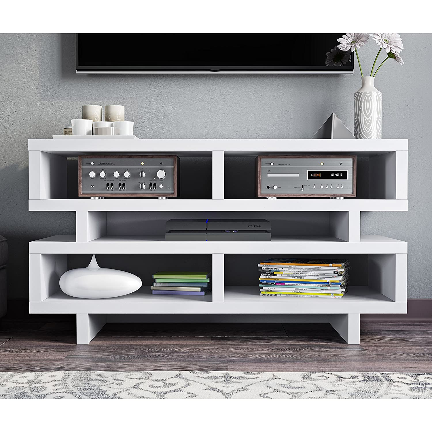 Amazon com white modern geometric multi storage media compartment shelf tv stand console table kitchen dining