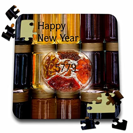 3drose jewish themes image of happy new year on big jars of honey 10x10
