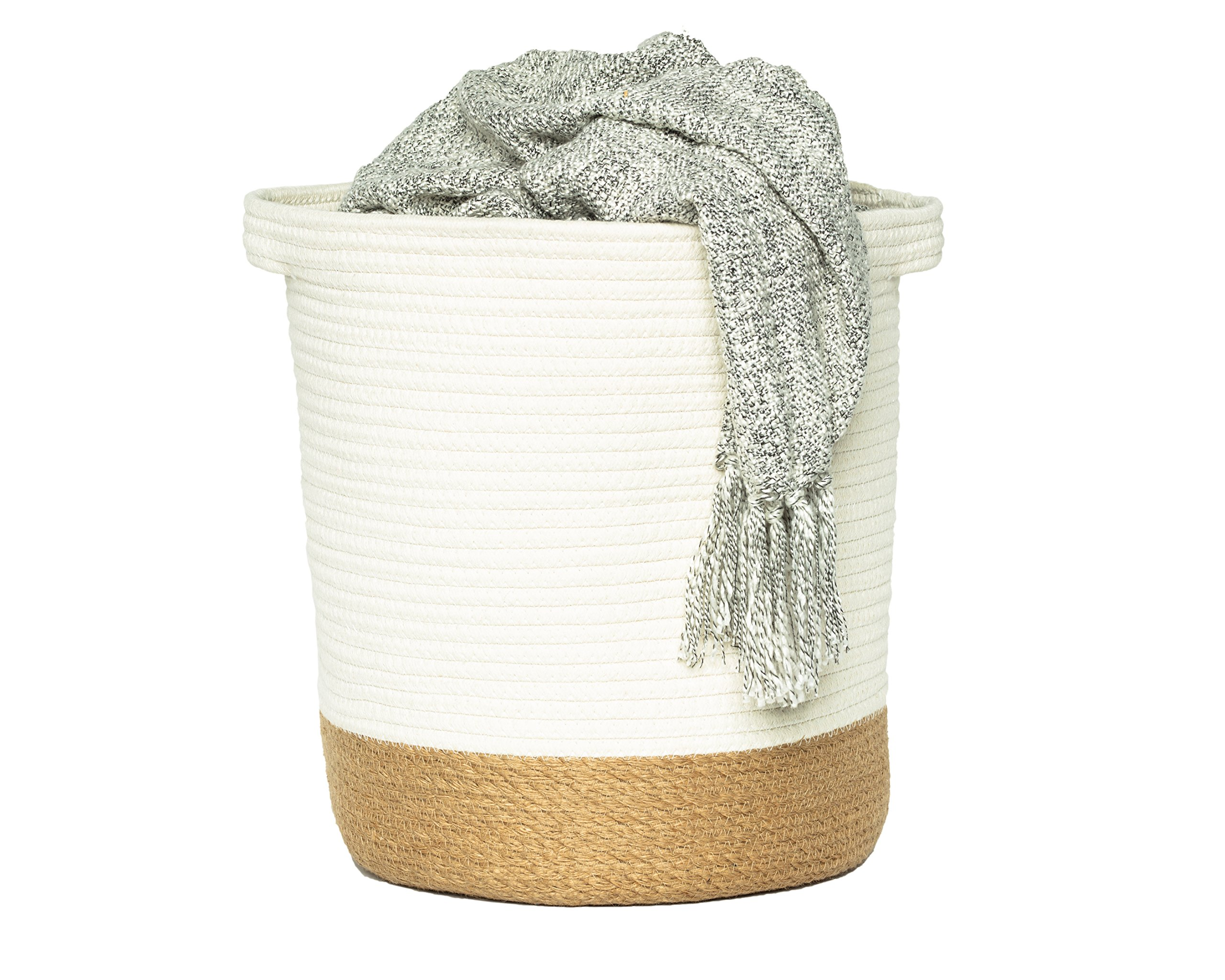 "Large Cotton Jute Rope Woven Storage Basket with Handles – Natural Laundry Toy Bin Towels Blanket Basket Decor Gift, 14"" x 15"""