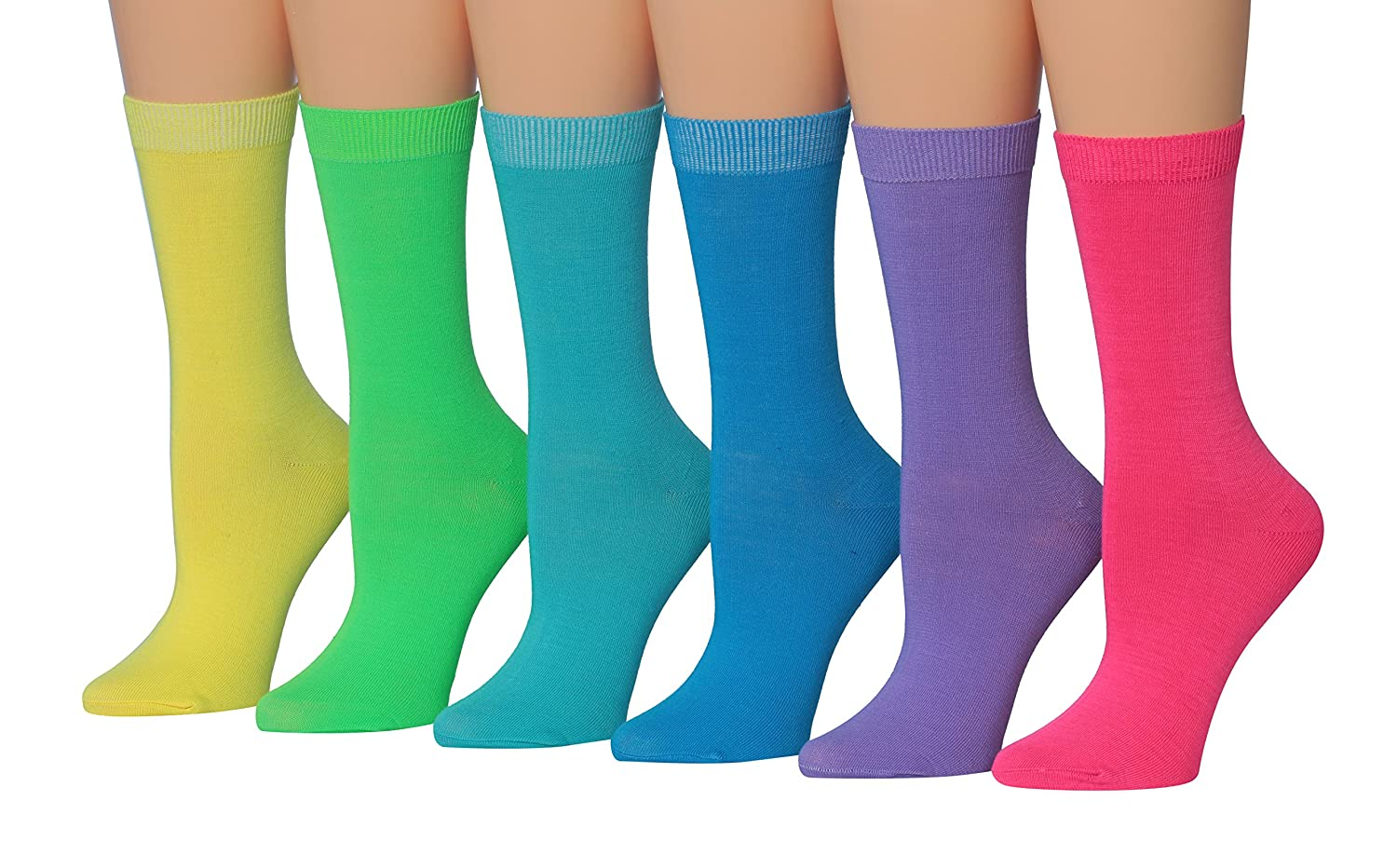 Tipi Toe Women's 6-Pairs Colorful Patterned Crew Socks WC14-A