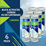 "Block Activated Carbon Coconut Shell Water Filter Cartridge 5 Micron for RO & Standard 10"" Housing (6 Pack)"