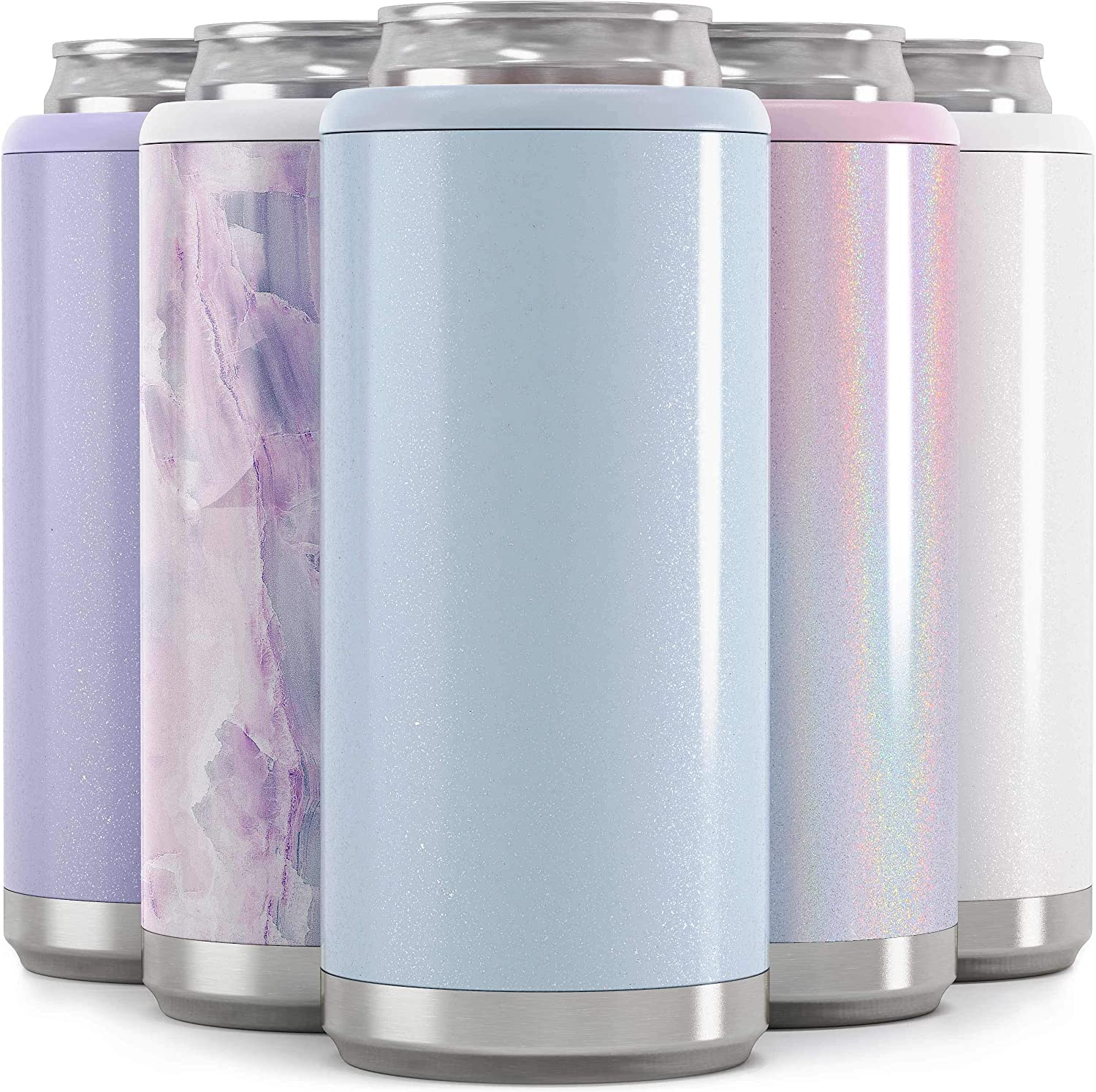 Maars Skinny Can Cooler for Slim Beer & Hard Seltzer | Stainless Steel 12oz Koozy Sleeve, Double Wall Vacuum Insulated Drink Holder - Glitter Iceberg