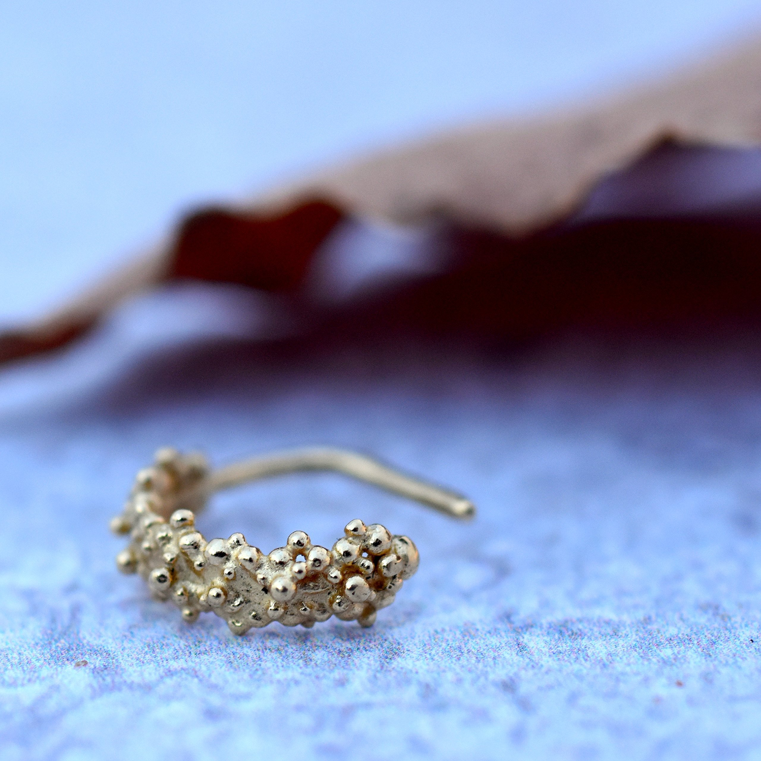 Gold Nose Ring, 14K Solid Yellow Gold Tribal Nose Hoop, Indian Style Piercing, Handmade Jewelry, 20g
