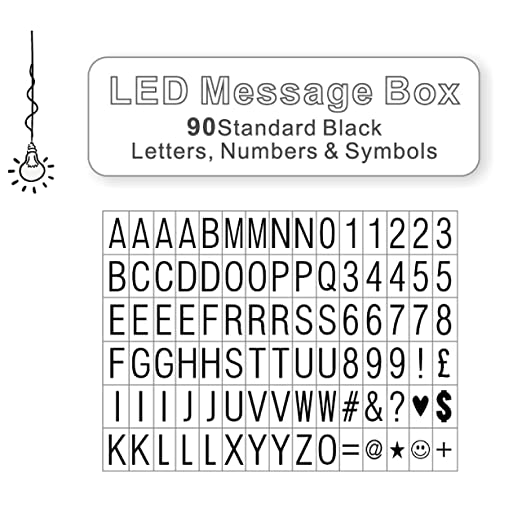 90 Black Letters Numbers And Symbols For Use With A4 Led Message