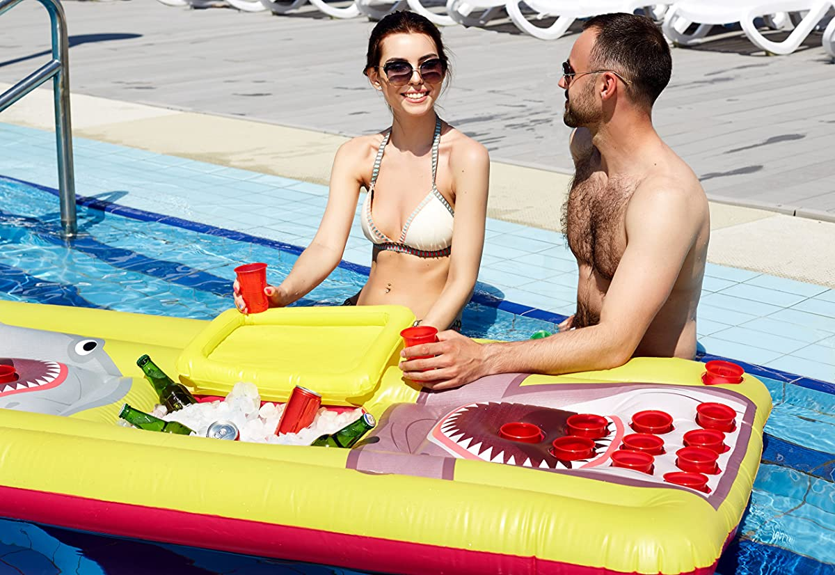 Kenley Beer Pong Pool Float - Inflatable Floating Table with Cooler and Holes - Swimming Pool Party Drinking Games for Adults - Giant Lounge Bar Raft Set