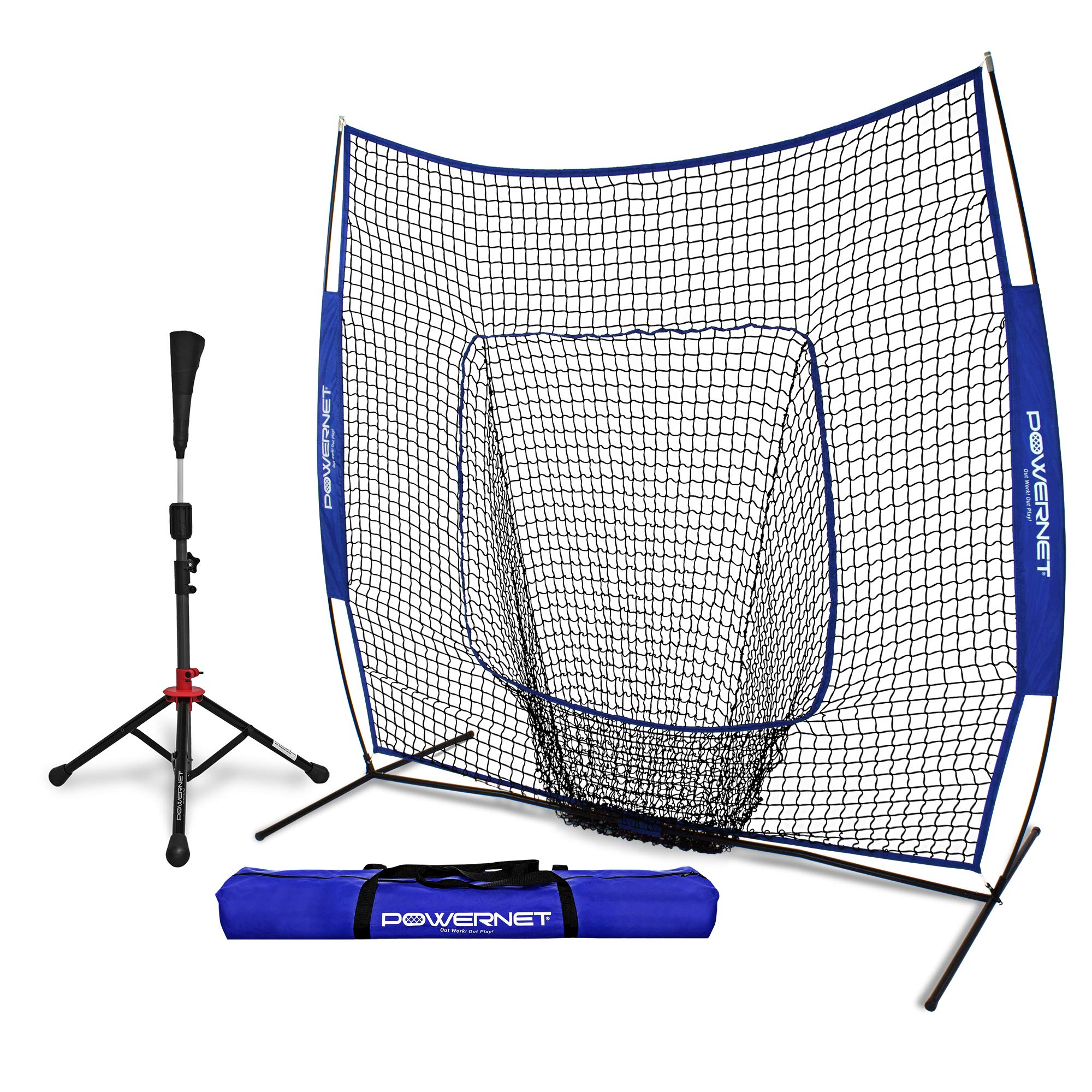 PowerNet Baseball Softball Practice Net 7x7 with Deluxe Tee (Royal Blue) | Practice Hitting, Pitching, Batting, Fielding | Portable, Backstop, Training Aid,Bow Frame | Training Equipment Bundle by PowerNet