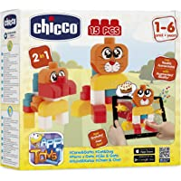 Chicco Toy Building Blocks Cat and Dog for Baby, 15 Pieces, Multi Color
