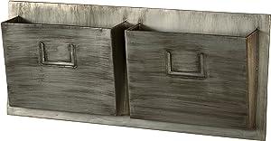 Linon Horizontal Industrial Distressed Gray Metal 2-Slot Mailbox