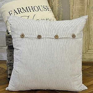 Piper Classics Ticking Stripe Pillow Cover, 20 x 20, Farmhouse Style Black Ticking
