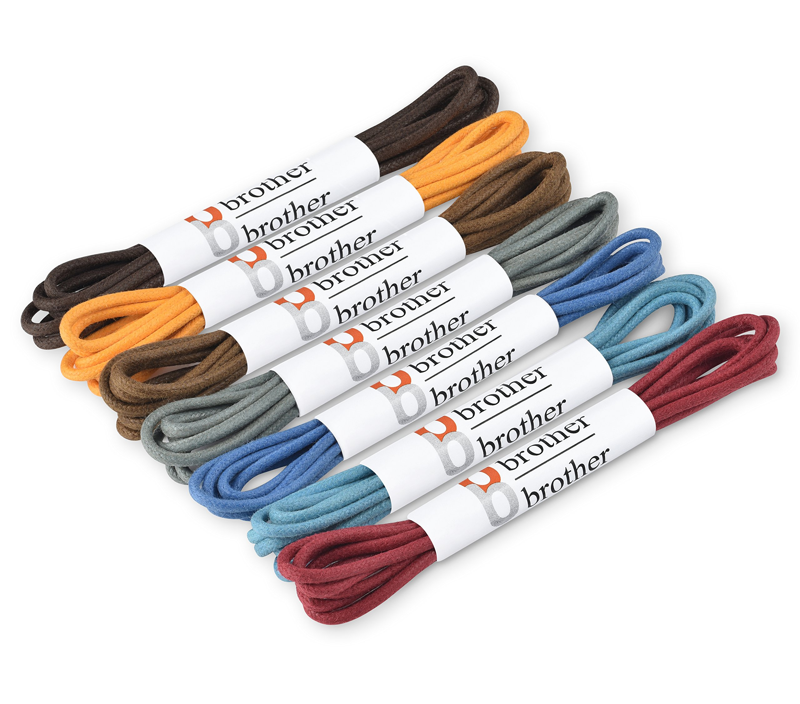 Brother Brother Colored Oxford Shoe Laces for Men (7 Pairs) | 100% Cotton Round and Waxed Shoelaces for Dress Shoes | Gift Box with Brown, Silky Violet, Burgundy, Mustard, Blue, Light Blue, Chocolate by brother brother (Image #3)