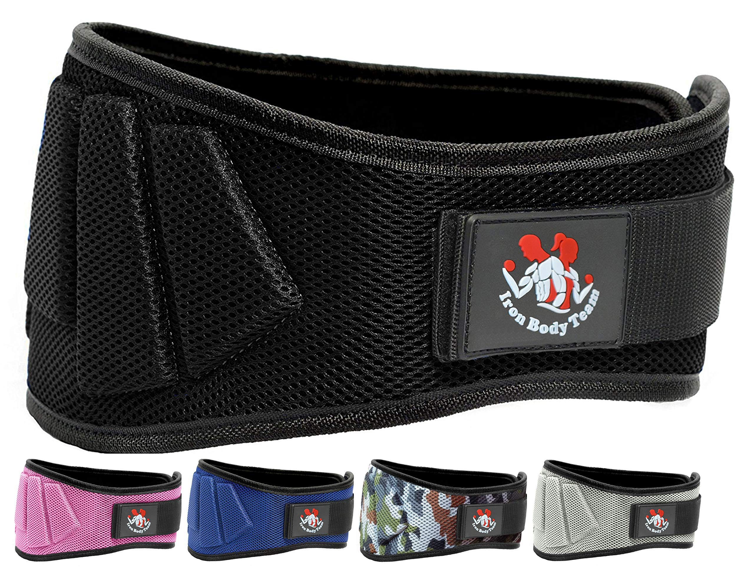 Iron Body Team Fully Adjustable Weightlifting Belt | Thick Lower Back & Core 6 inch Support for Men & Women | (Black,XS)