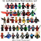 Kids Corner Productions - Super Heroes Lego Figures 42 Set Lot Mini Figures Marvel and DC Comics - Party Bag with Batman, Spiderman, IronMan, Thor, DeadPool and Many More - Compatible with Lego