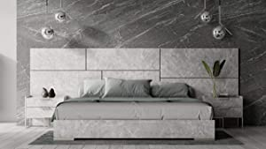Limari Home Beatrix Collection Modern Bedroom Italian Faux Marble Finished Platform Bed with 2 Nightstands, Queen, Gray