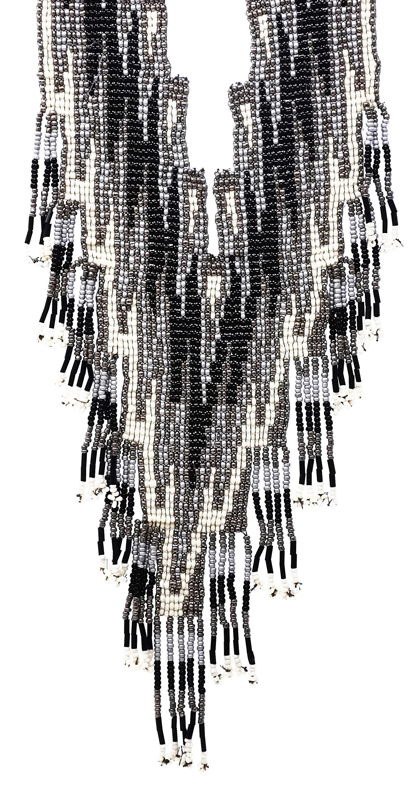Elosee Bohemian Style Seed Bead Fringe Bib Statement 19'' Necklace