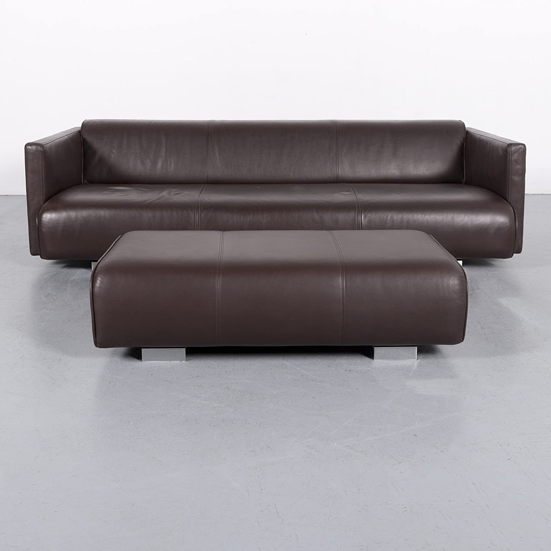 Rolf Benz 6300 Designer Leder Sofa Garnitur Braun Dreisitzer Couch