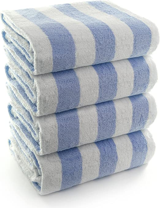 8 new white yellow stripe cotton 30x60 cabana towels pool towel beach pool towel