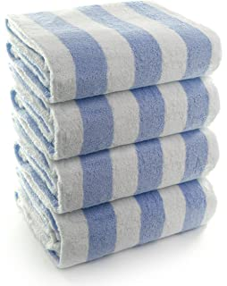 INDULGE Large Beach and Pool Towel, Cabana Stripe, 100% Turkish Cotton (30x60
