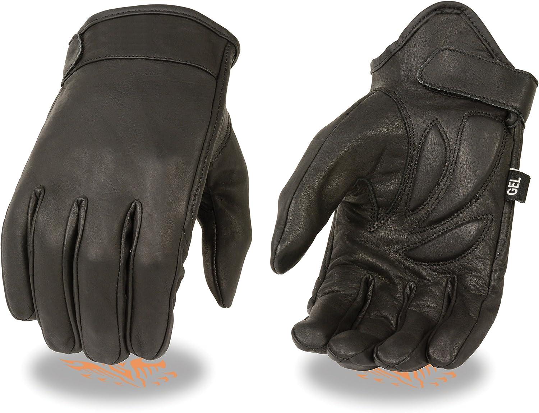 First MFG Men/'s Leather Cruiser Fingerless Hard Knuckle Padded Motorcycle Gloves
