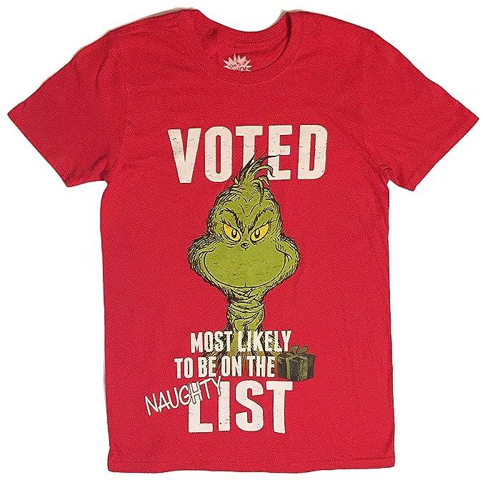 184c09e61 Hybrid The Grinch Men's Voted Naughty Holiday T Shirt   Amazon.com
