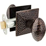 Mission Style Rosette Set with Hammered Egg Knobs Passage in Oil Rubbed Bronze. Traditional Door Knobs.
