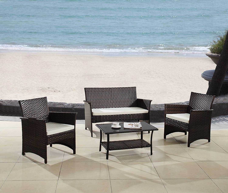 Amazon com modern outdoor garden patio 4 piece seat gray espresso wicker sofa furniture set espresso garden outdoor