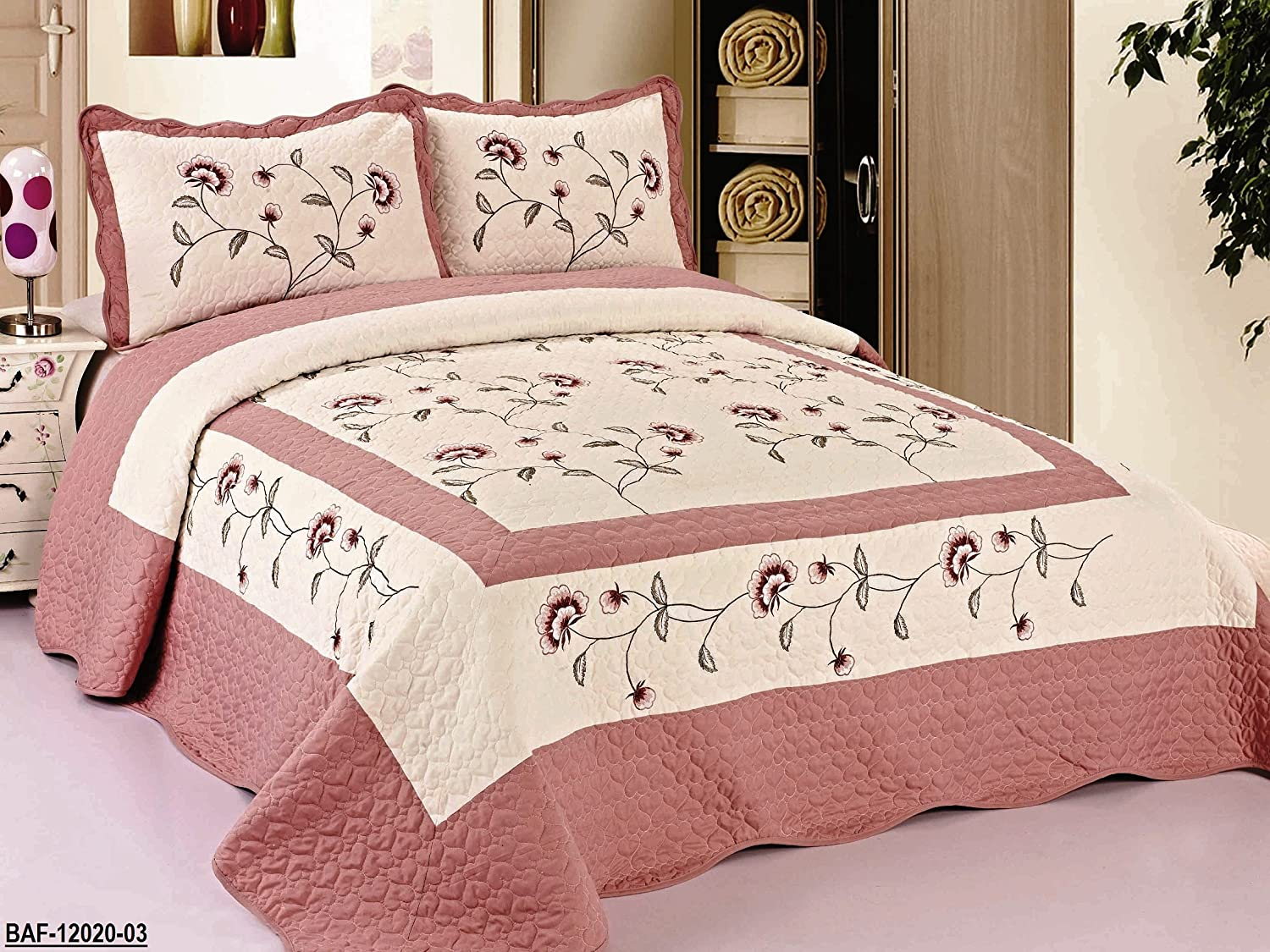 well-wreapped 3pc Beige / Rose High Quality Fully Quilted Embroidery Bedspread Bed Coverlets Cover Set , Queen King