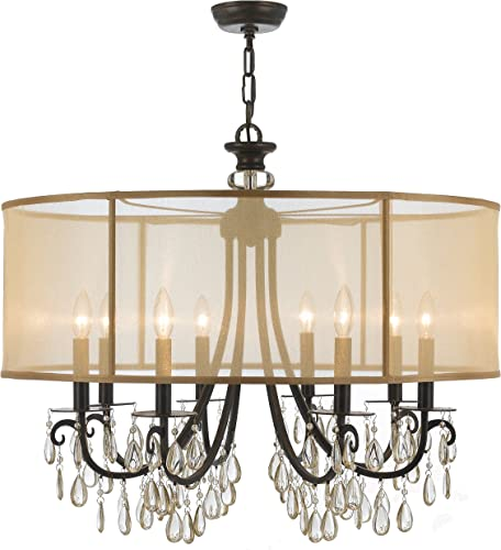 Crystorama 5628-EB Crystal Accents Eight Light Chandelier from Hampton collection in Bronze Darkfinish,
