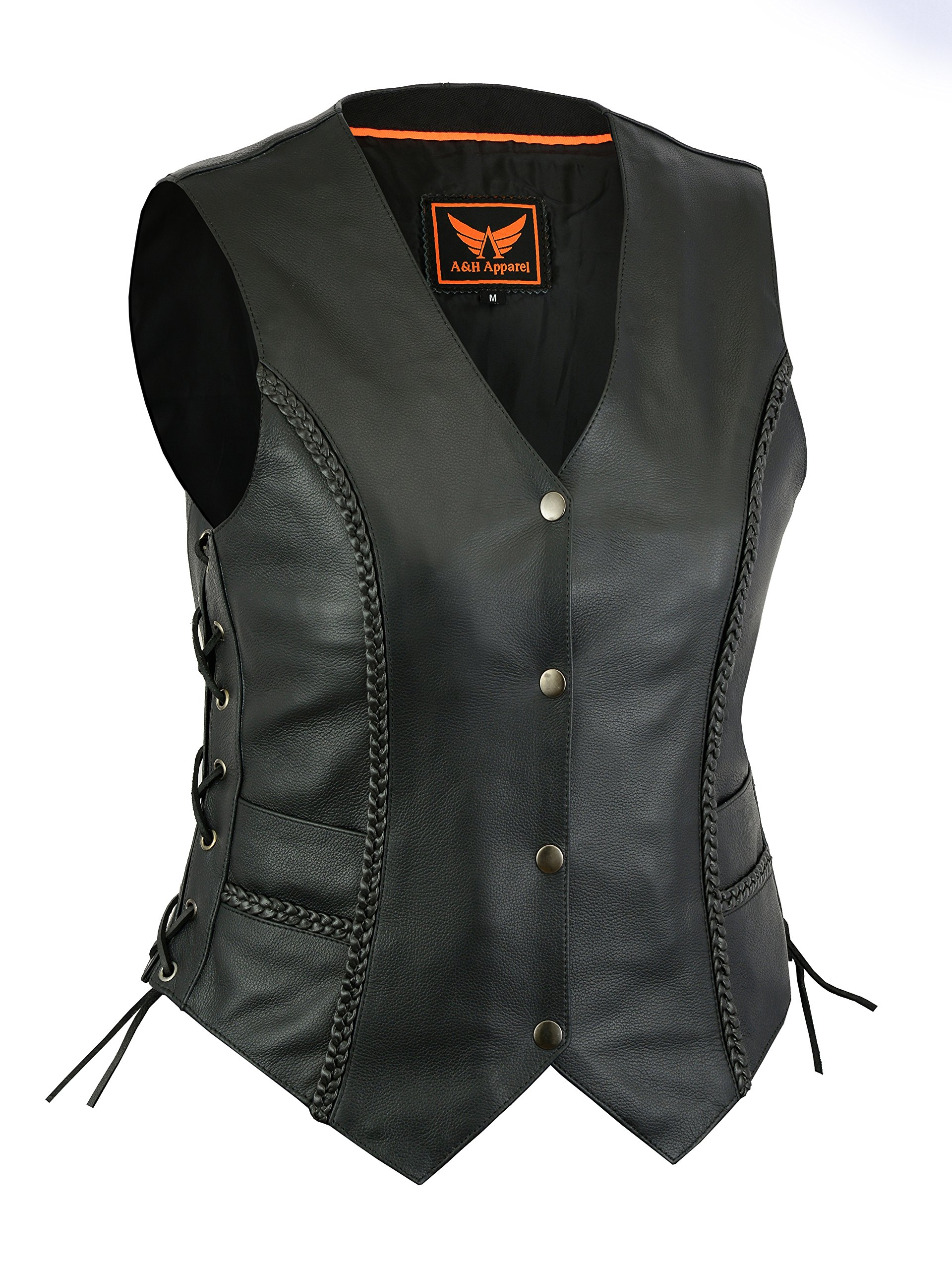 A&H Apparel Women Motorcycle Biker Classic Vest Genuine Cowhide Leather Vest With Gun Pocket (X-Small)