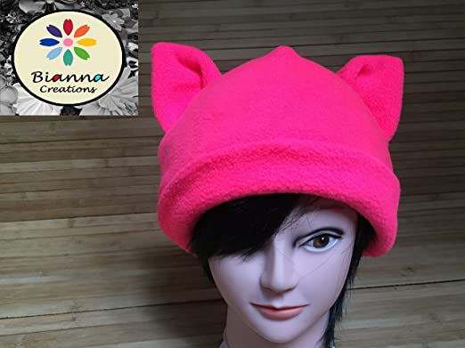 Amazon Com Neon Pink Pussycat Hat Kitty Pussy Cat With Ears Beanie
