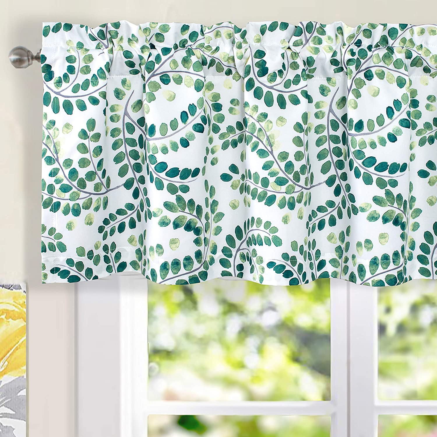 DriftAway Aleena Valance 2 Layers Room Darkening Blackout Valance for Cafe Kitchen Bedroom Living Room Bathroom Floral Scroll Window Treatment Valance 50 Inch by 18 Inch Plus 2 Inch Green White