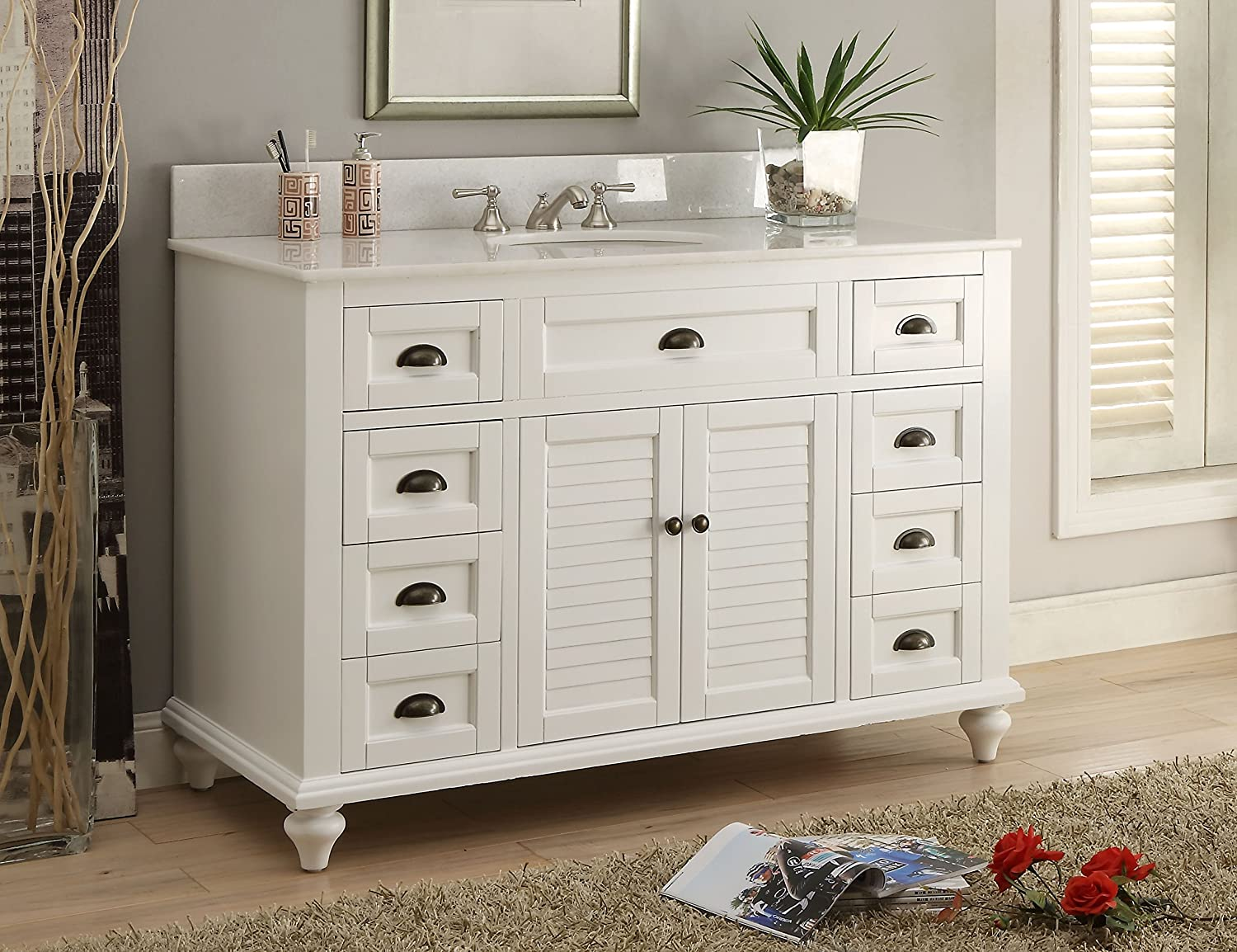 Glennville 49 Cottage Bathroom Vanity Cabinet Set in White GD28327