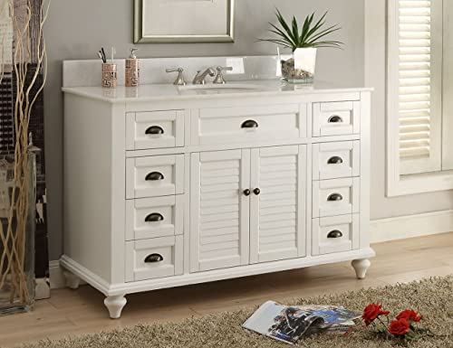 Glennville 49 Cottage Bathroom Vanity Cabinet Set in White GD28327