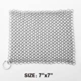 "LauKingdom 7""x7"" Cast Iron Cleaner, Stainless Steel Cast Iron Cleaner 316L Chainmail Scrubber for Cast Iron Pan, Ultra-hygienic Anti-rust Cast Iron Scraper with Corner Ring, Square"