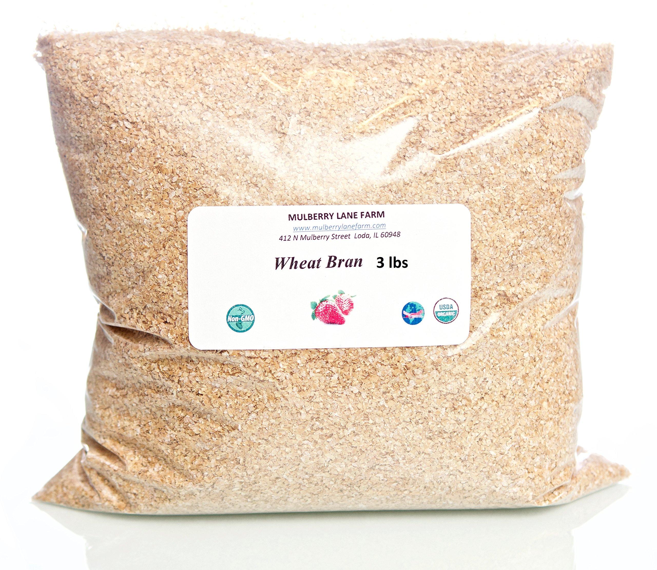 Wheat Bran, 48 ounces, or 3 lbs (three pounds), USDA Certified Organic, Non-GMO, BULK.