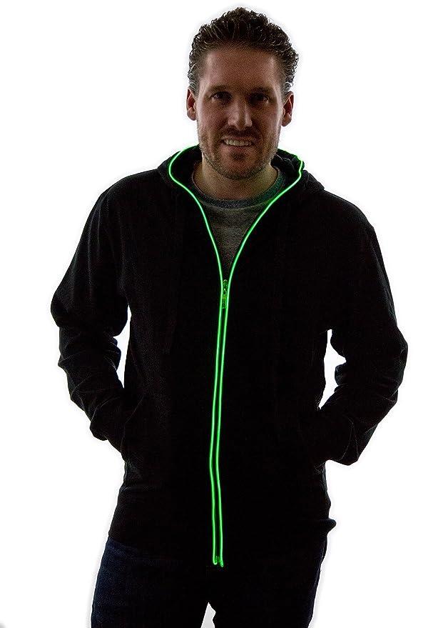 Sudadera con capucha de hilos de neón verdes