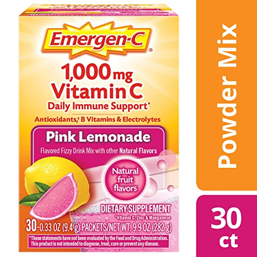 Emergen-C (30 Count, Pink Lemonade Flavor, 1 Month Supply) Dietary Supplement Fizzy Drink Mix with 1000mg Vitamin C, 0.33 Ounce Powder Packets, Caffeine Free