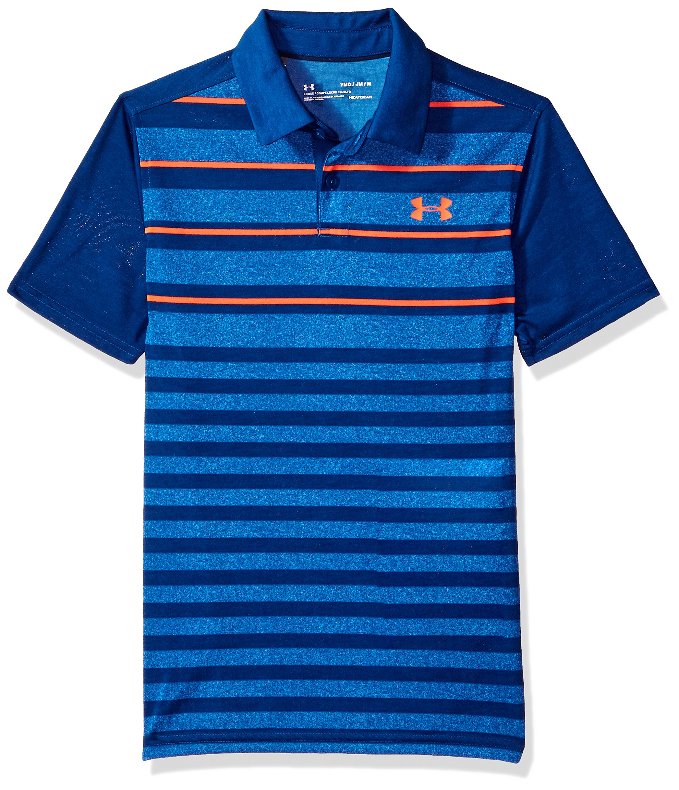 Under Armour Boys' Threadborne Bunker Polo, Moroccan Blue (487)/Neon Coral, Youth X-Small by Under Armour