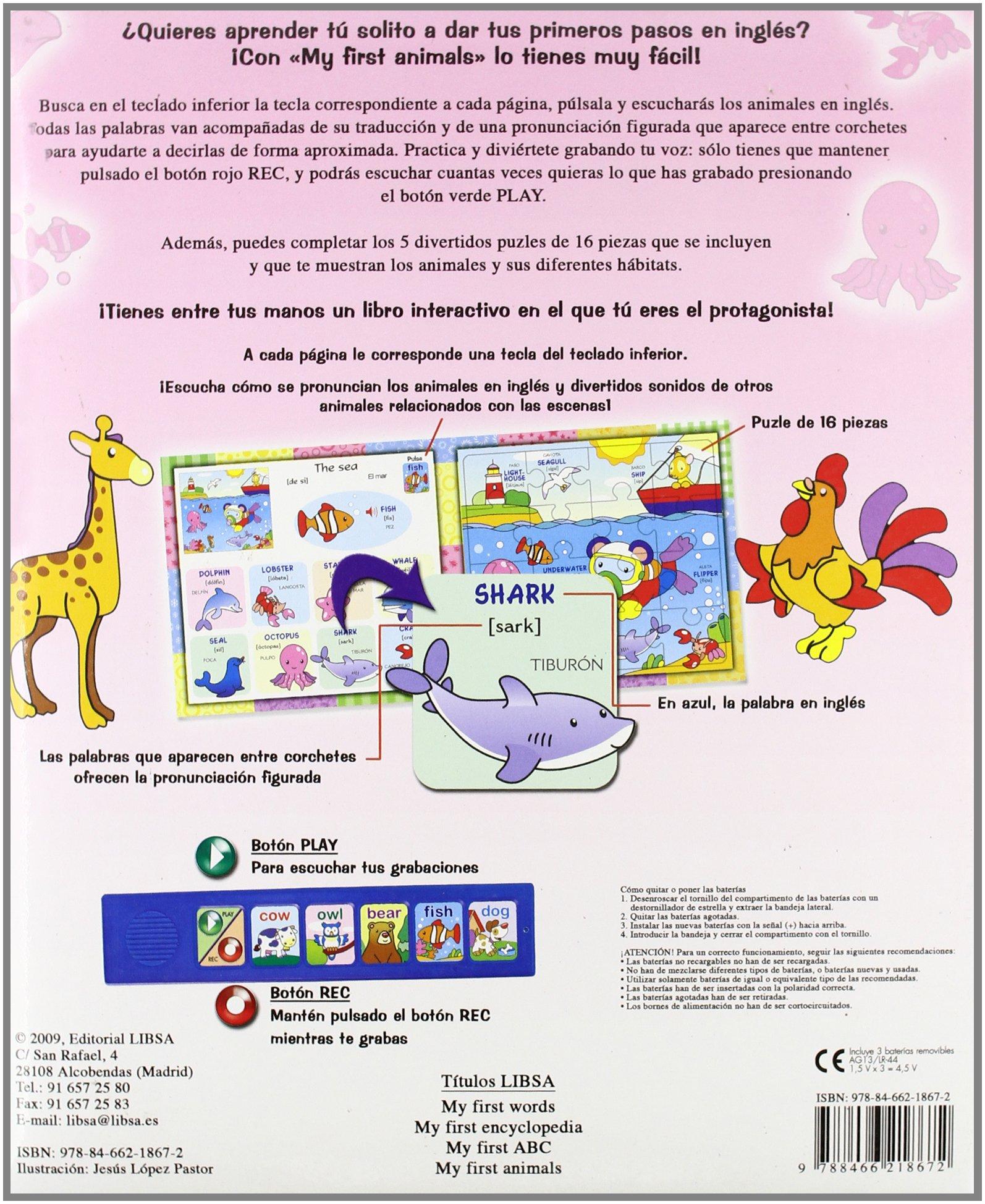 My First Animals (Mi Primer Libro De Ingles/ My First English Book) (Spanish Edition): Equipo Editorial, Jesus Lopez Pastor: 9788466218672: Amazon.com: ...