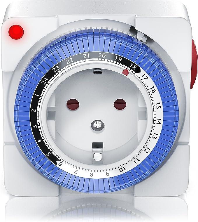 Zeitschaltuhr weiss Steckdose Zeitschalter 24 Stunden im 15 Min Takt einstellbar