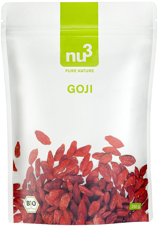 nu3 Bayas de Goji Premium 250g I Calidad orgánica comprobada I Cultivadas bajo control ecológico en China I Gran contenido de hierro y vitaminas I Superfood ...