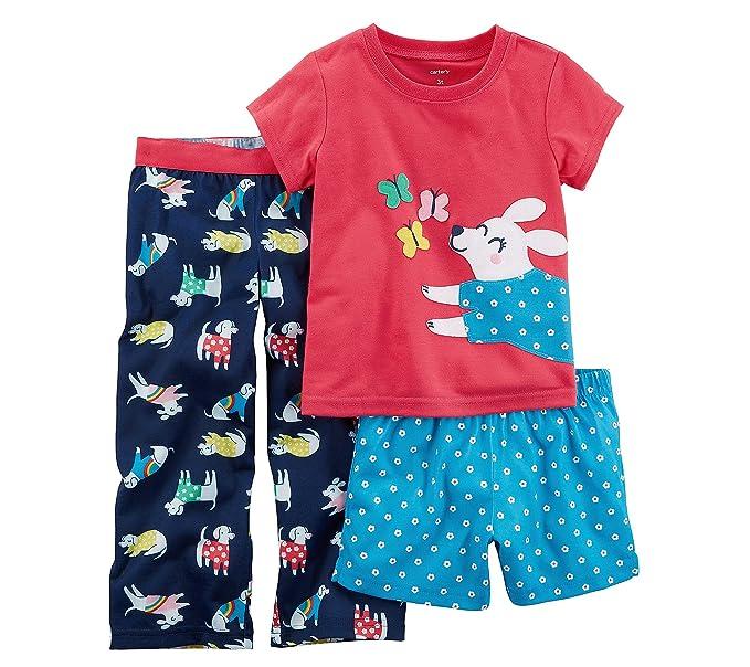 a2fec94bae52 Amazon.com  Carter s Baby Girls  3-Pc. Dog Jersey Pajamas  Clothing