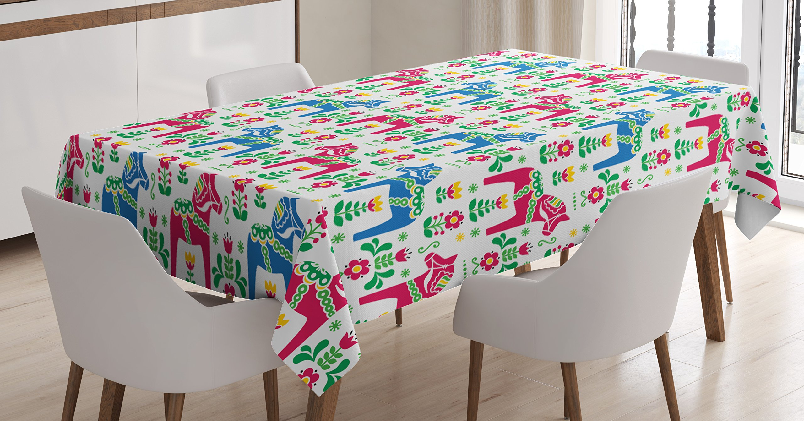 Ambesonne Horses Tablecloth, Classic Swedish Dalecarlian Coral Azure Blue Animals and Green Floral Arrangement, Dining Room Kitchen Rectangular Table Cover, 60 W X 84 L inches, Multicolor