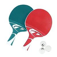 Cornilleau - Juego 2Raquetas y 3Pelotas de Ping-Pong Tacteo, Verde/Blanco/Rojo