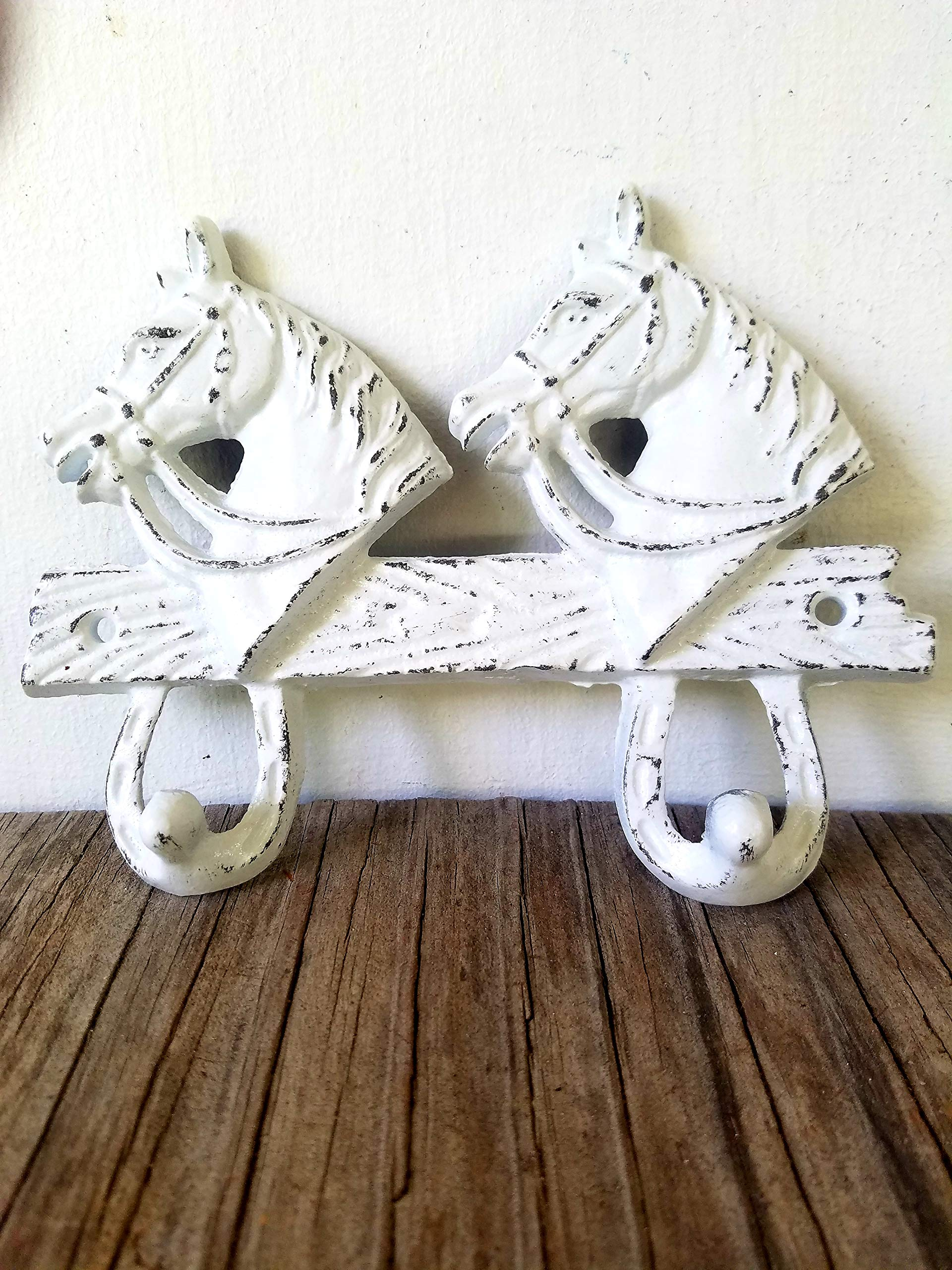 Bright White Horsehead Double hook – Western Home Decor – Rustic cowboy cowgirl – kids room