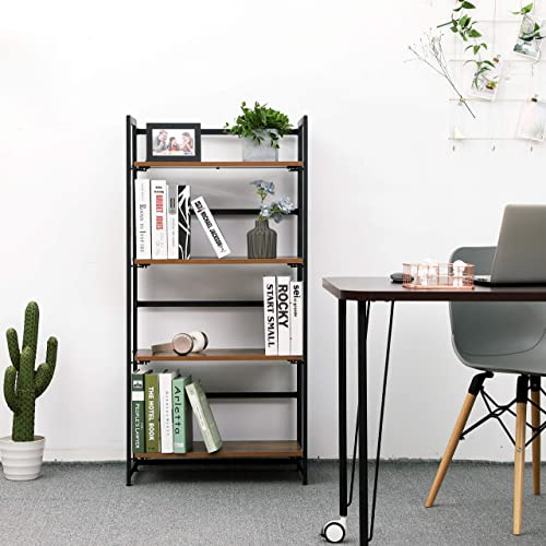VASAGLE Industrial Bookshelf, Folding Bookcase, 4-Tier Ladder Shelf, Wood Look Accent Furniture with Metal Frame, for Home Office Sturdy and Stable ULLS88X