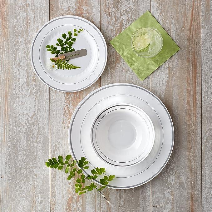 Amazon Com Masterpiece Premium Quality Heavyweight Plastic Plates 25 Dinner Plates And 25 Salad Plates Kitchen Dining