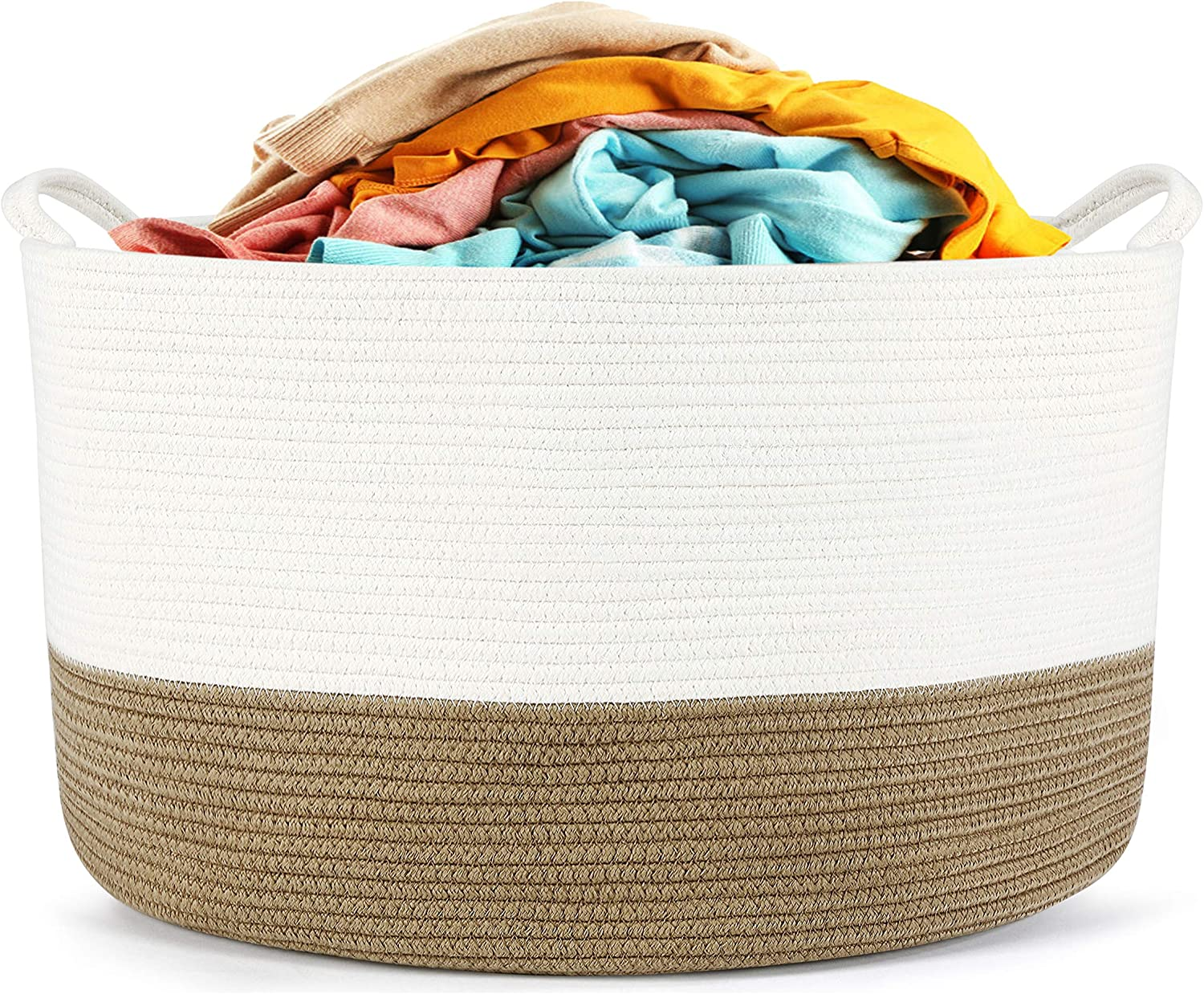 HYNAWIN Cotton Rope Storage Basket Laundry Basket, Decorative Woven Basket for Laundry, 20'' x 13'' (Brown and Off-White )