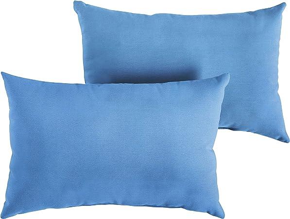 Amazon Com 1101design Sunbrella Canvas Capri Knife Edge Decorative Indoor Outdoor Rectangle Lumbar Pillow Perfect For Patio Decor Capri Blue 12 X 18 Set Of 2 Garden Outdoor