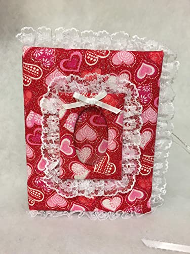 Beautiful Pink Hearts Fabric Photo Album with Heart Shaped Photo Frame 4x6 100 pages