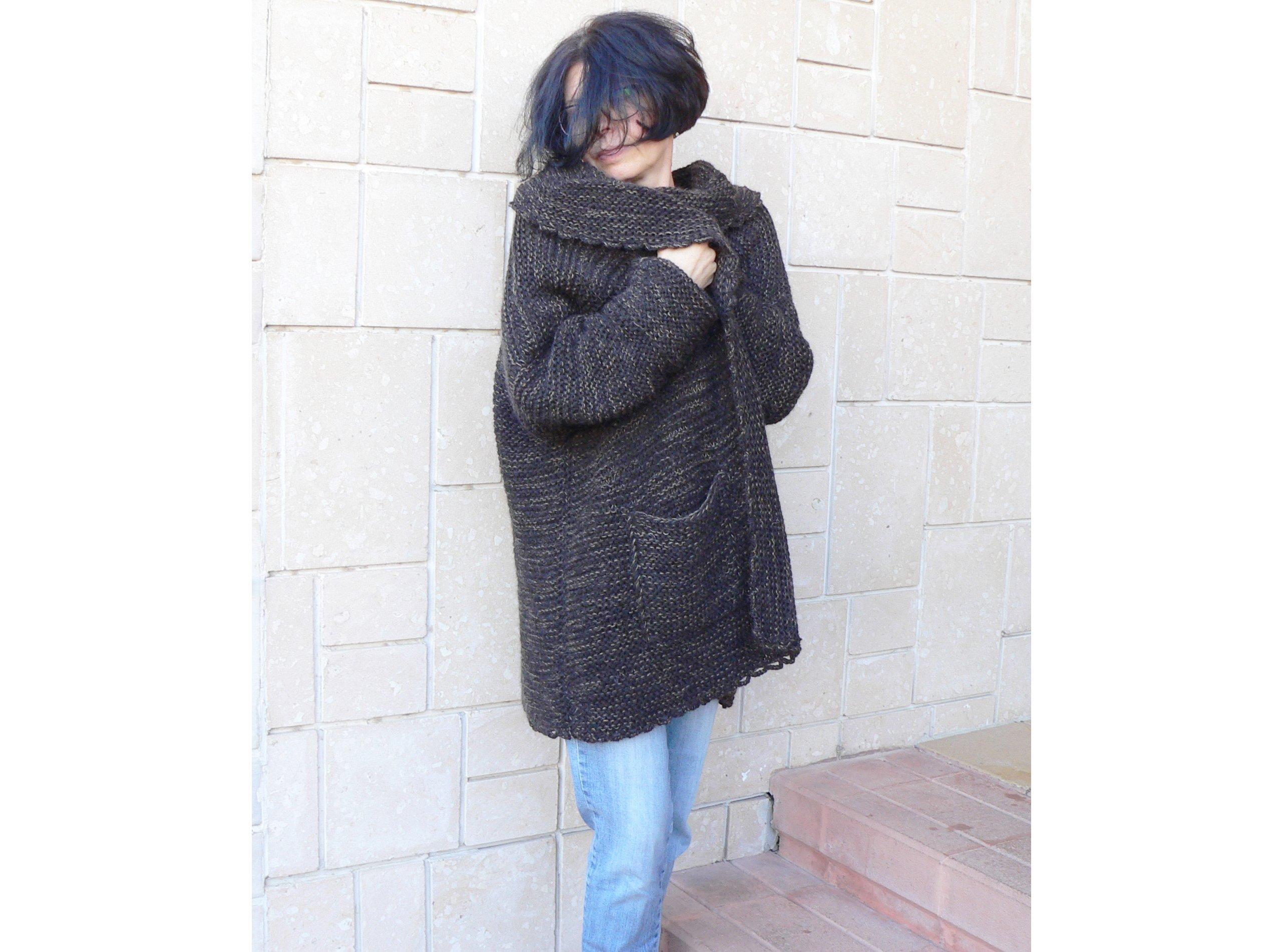 Grunge Women Alpaca Wool Coat Cardigan & Pockets